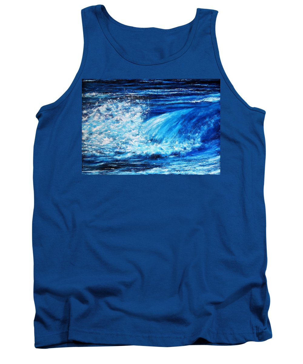 Painting Tank Top featuring the painting Blue Waves by Dimitra Papageorgiou