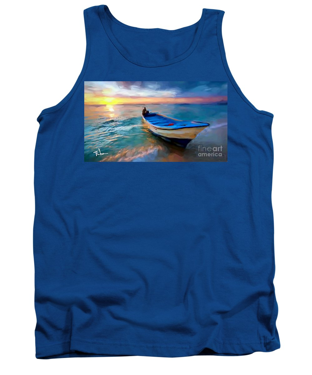 Tank Top featuring the digital art Boat On Beach by Tom Sachse