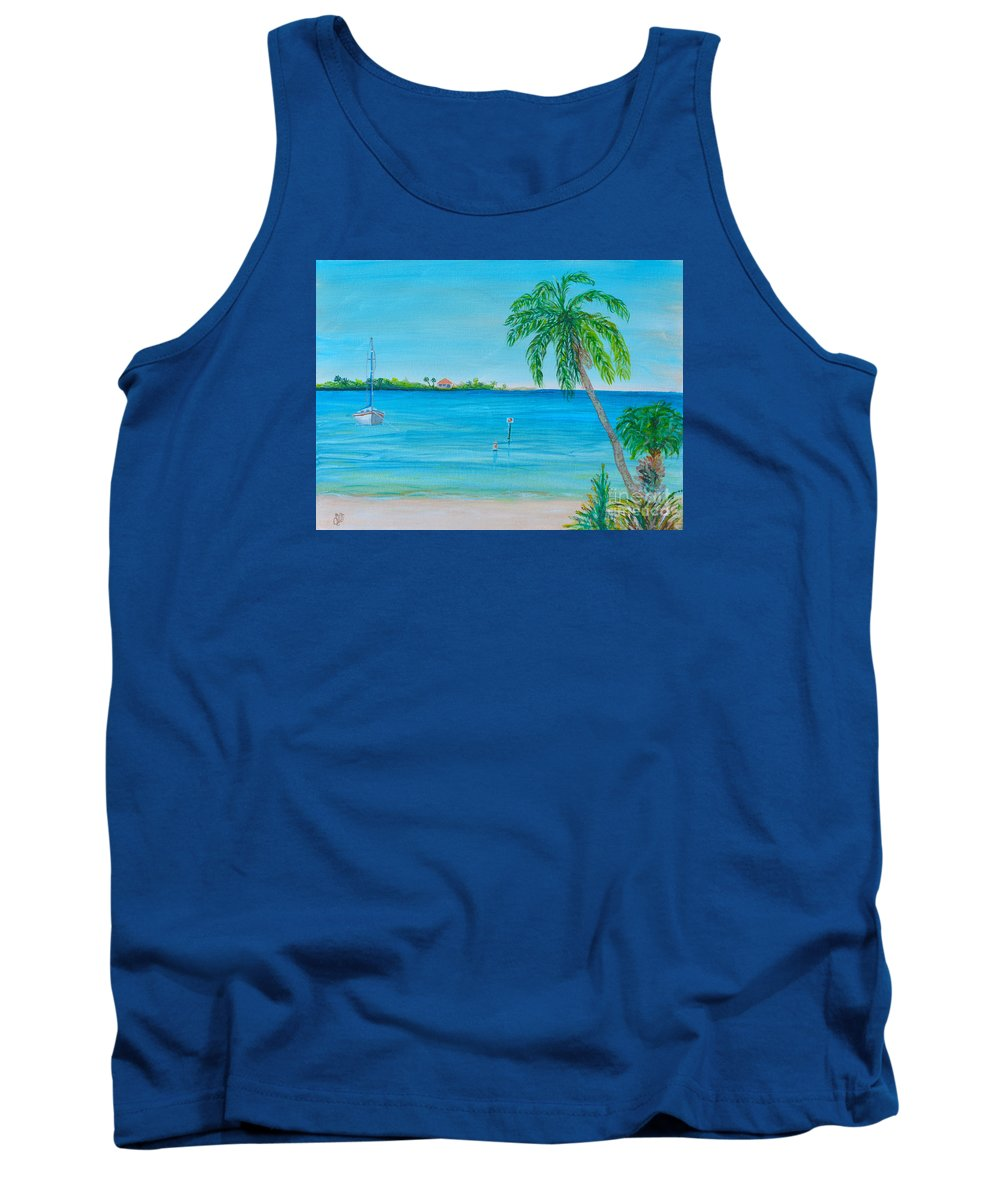 Cape Coral Beach Tank Top featuring the painting Cape Coral Beach by Christine Dekkers