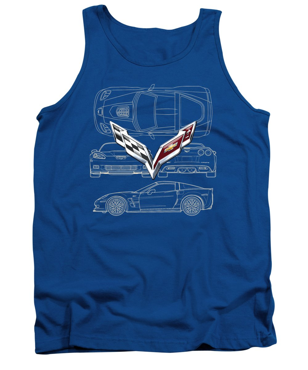 �wheels Of Fortune� By Serge Averbukh Tank Top featuring the photograph Chevrolet Corvette 3 D Badge Over Corvette C 6 Z R 1 Blueprint by Serge Averbukh