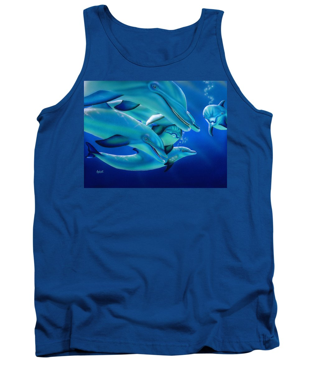 Blue Tank Top featuring the painting Curiosity by Angie Hamlin