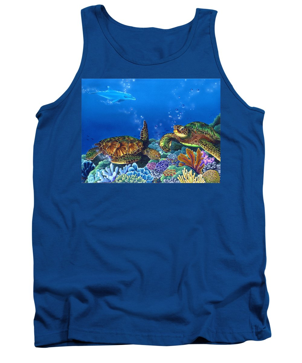 Turtles Tank Top featuring the painting Lunchtime by Angie Hamlin