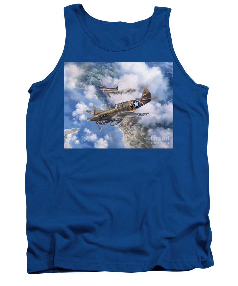 P-40 Warhawk Tank Top featuring the painting One Off At Darwin by Randy Green