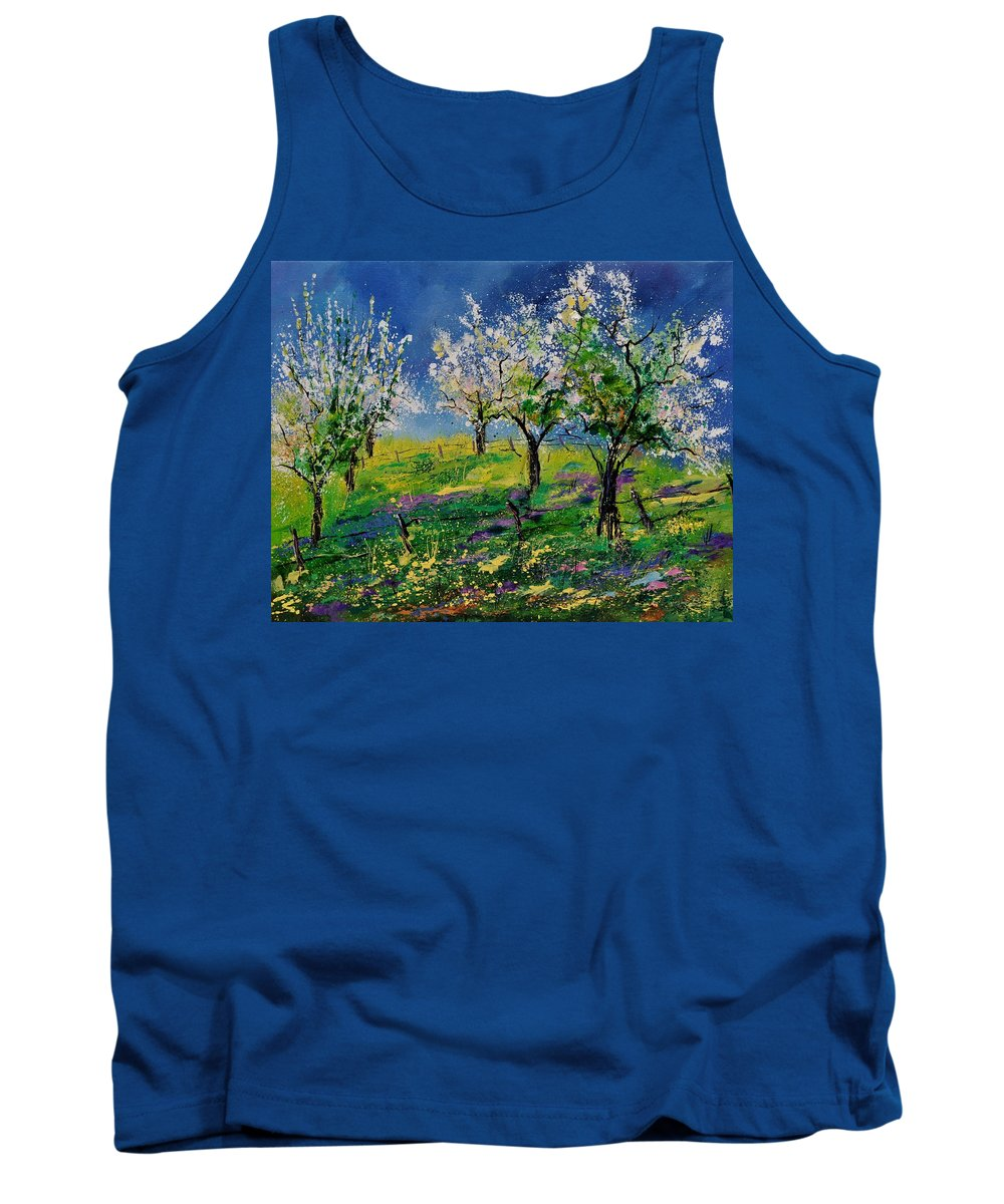 Landscape Tank Top featuring the painting Spring 79 by Pol Ledent