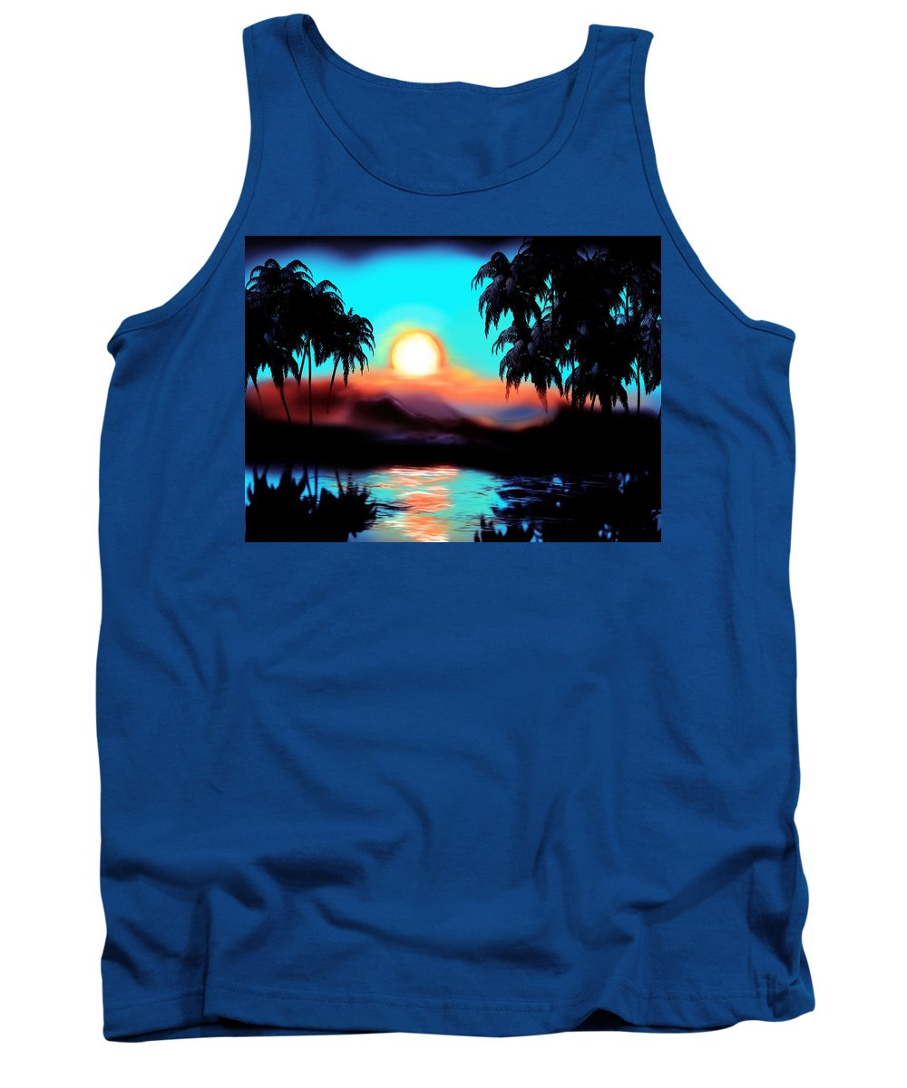 Sun Tank Top featuring the mixed media Sunrise by Lisa Stanley