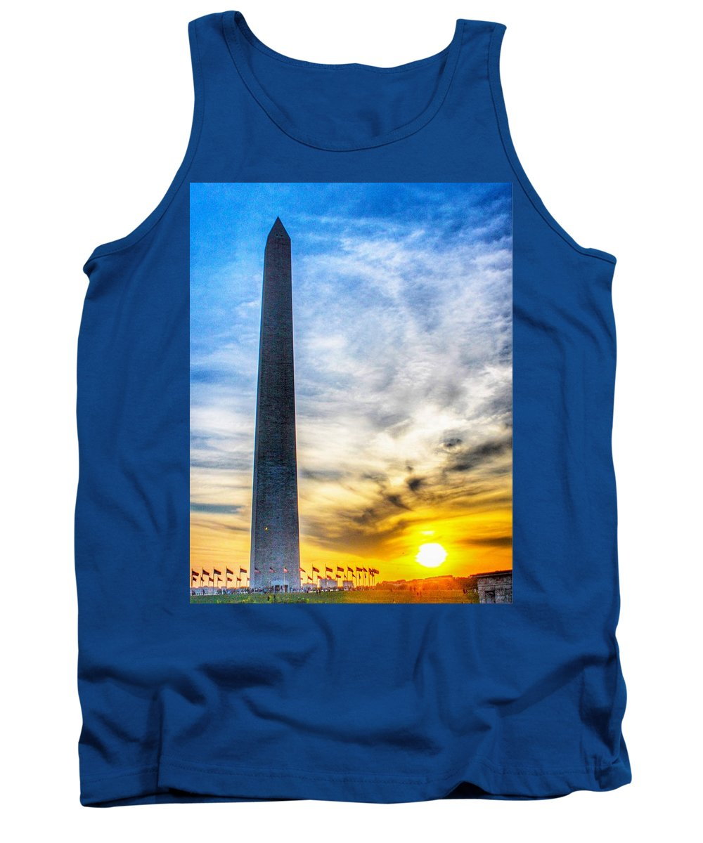 This Is A Photo Of The Washington Monument At Sunset In Washington Dc Tank Top featuring the photograph Sunset Washington Monument by William Rogers