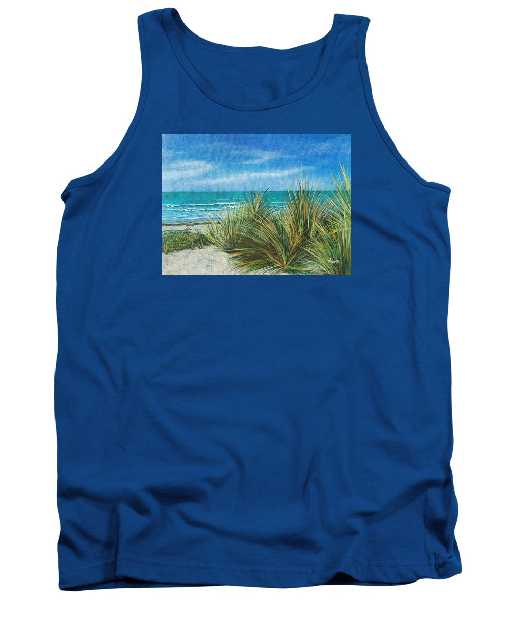 Sea Grass Tank Top featuring the painting Surf Beach by Angie Hamlin