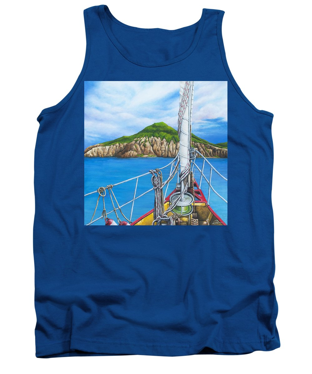 Sint Maarten Tank Top featuring the painting Take Me To Saba by Cindy D Chinn