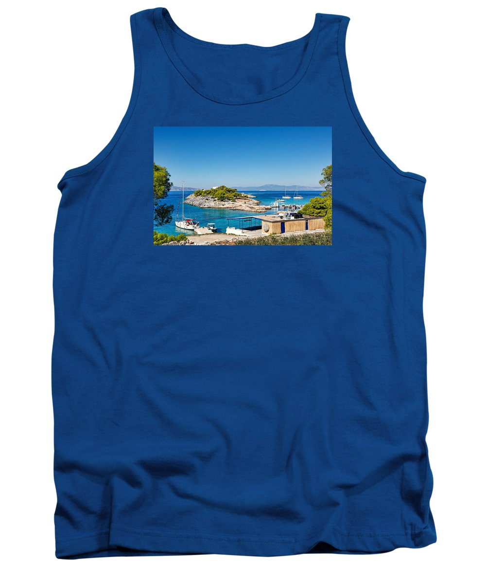 Sail Tank Top featuring the photograph The Small Island Aponisos Near Agistri Island - Greece by Constantinos Iliopoulos