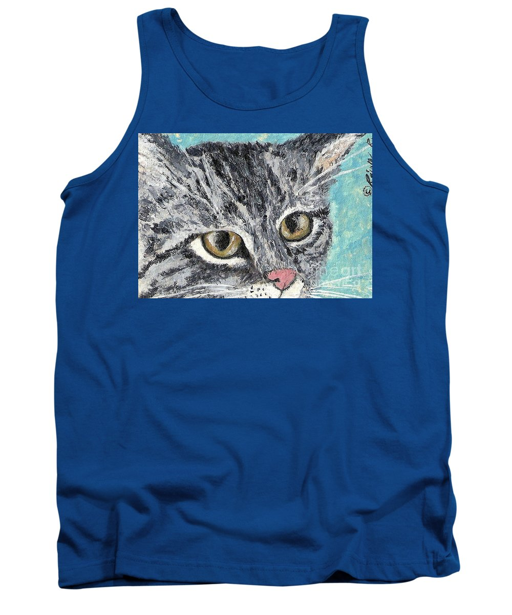 Cats Tank Top featuring the painting Tiger Cat by Reina Resto