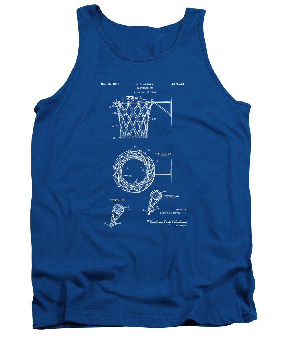 Basketball Tank Top featuring the digital art 1951 Basketball Net Patent Artwork - Blueprint by Nikki Marie Smith