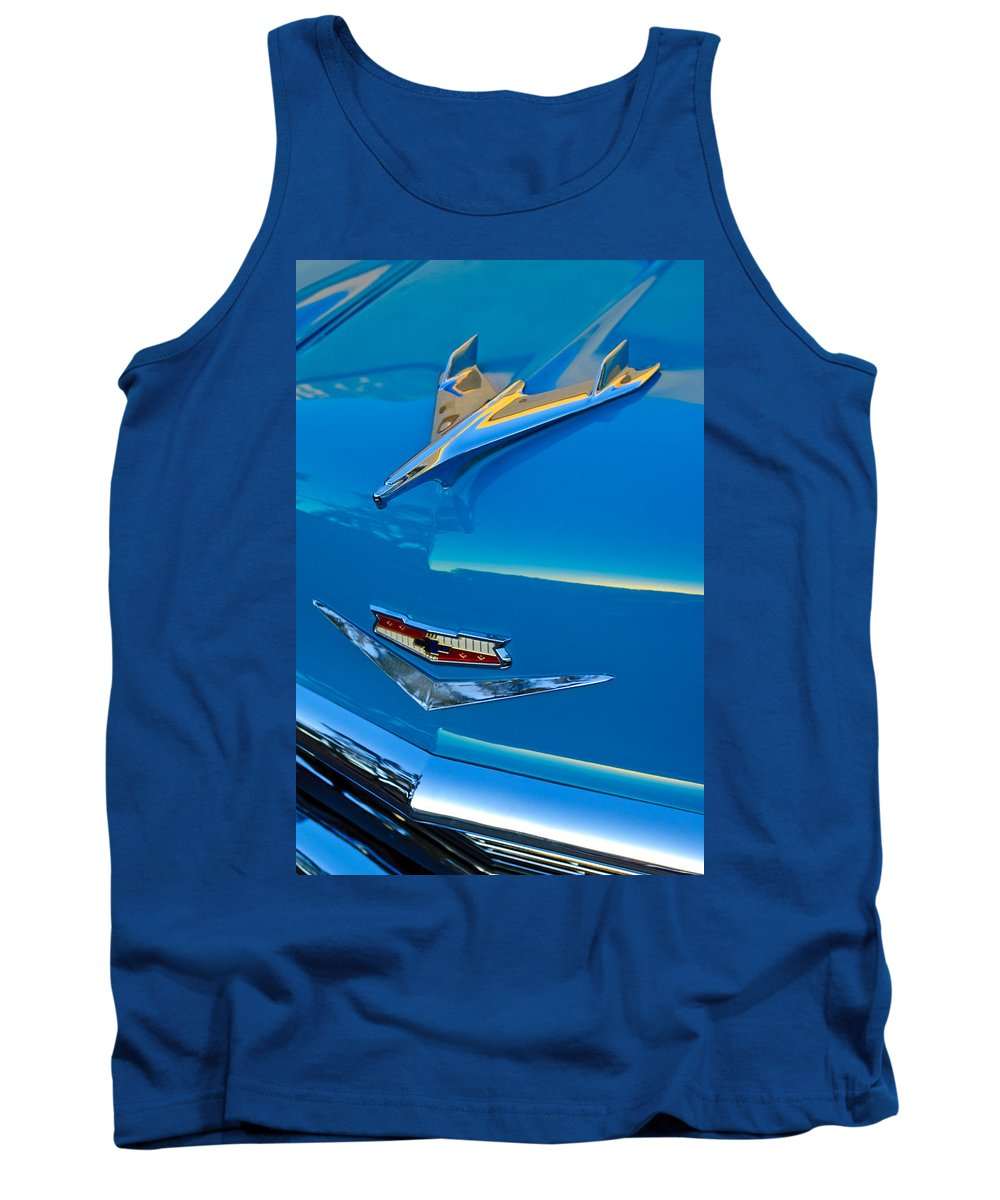 1956 Chevrolet Tank Top featuring the photograph 1956 Chevrolet Hood Ornament 4 by Jill Reger