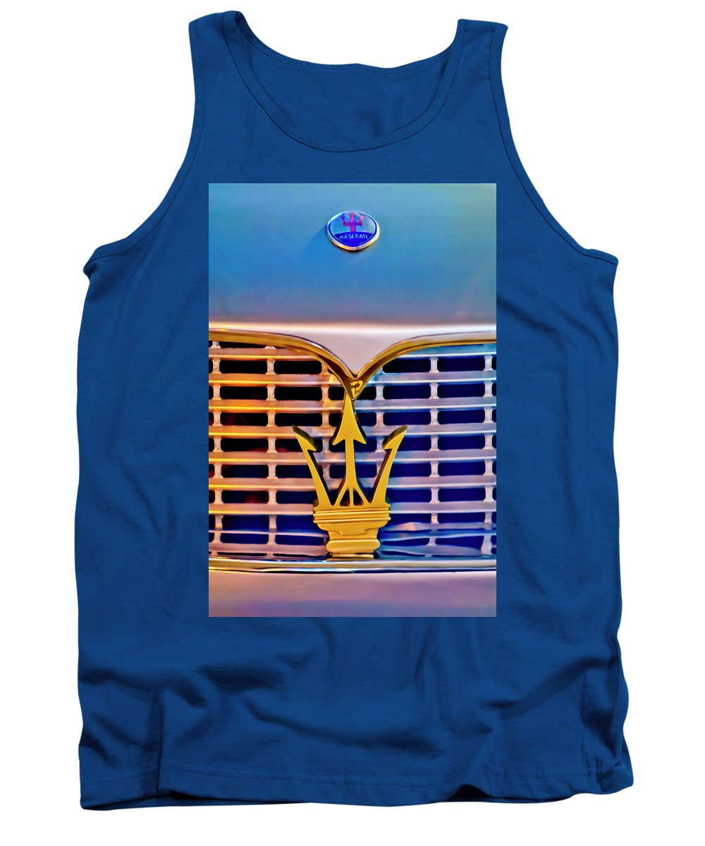 1967 Maserati Sebring Coupe Tank Top featuring the photograph 1967 Maserati Sebring Coupe Emblem by Jill Reger