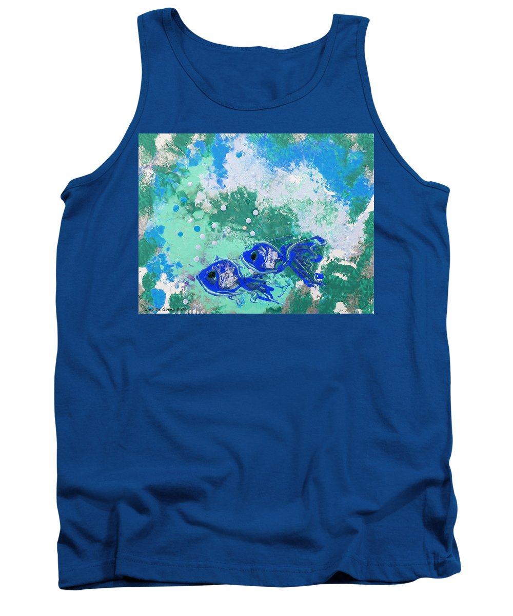 Fish Tank Top featuring the painting 2 Blue Fish by Gina De Gorna