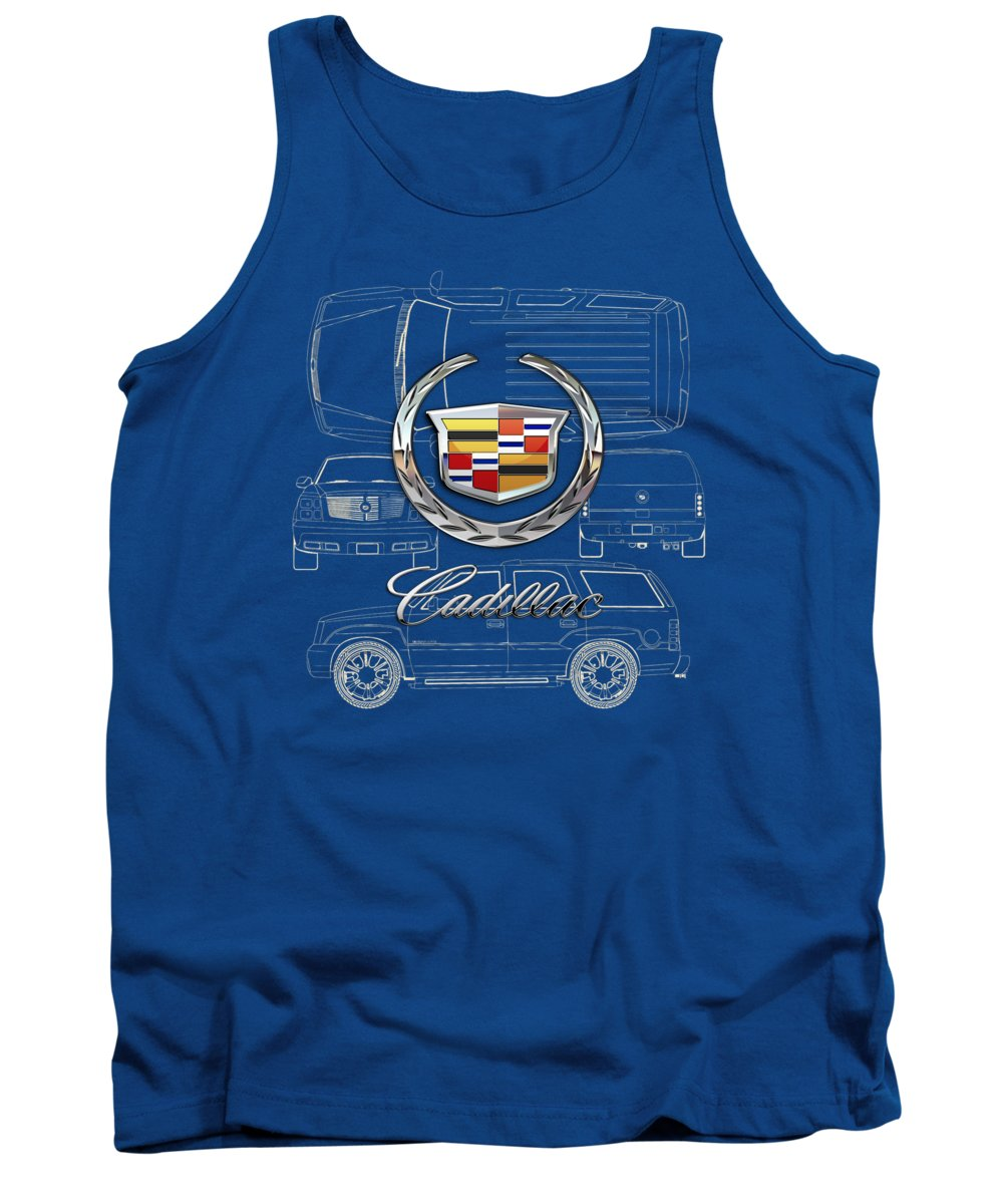 'wheels Of Fortune' By Serge Averbukh Tank Top featuring the photograph Cadillac 3 D Badge Over Cadillac Escalade Blueprint by Serge Averbukh