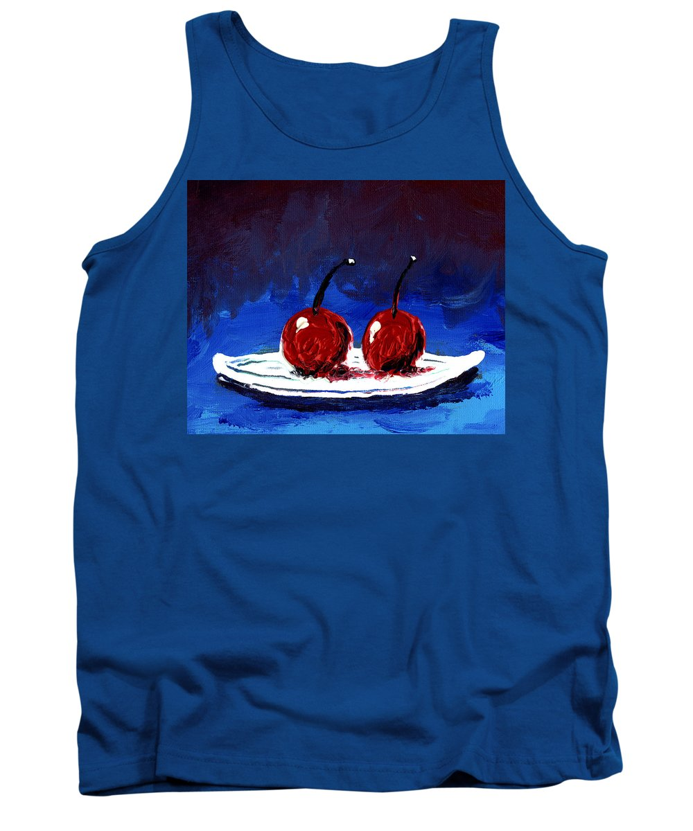Cherry Tank Top featuring the painting 2 Cherries On A White Plate by Gary Henderson