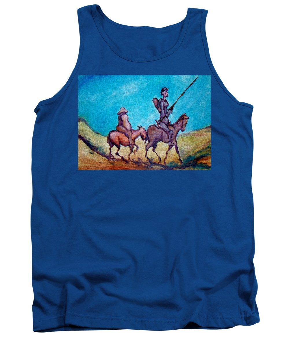 Don Quixote Tank Top featuring the painting Don Quixote by Kevin Middleton