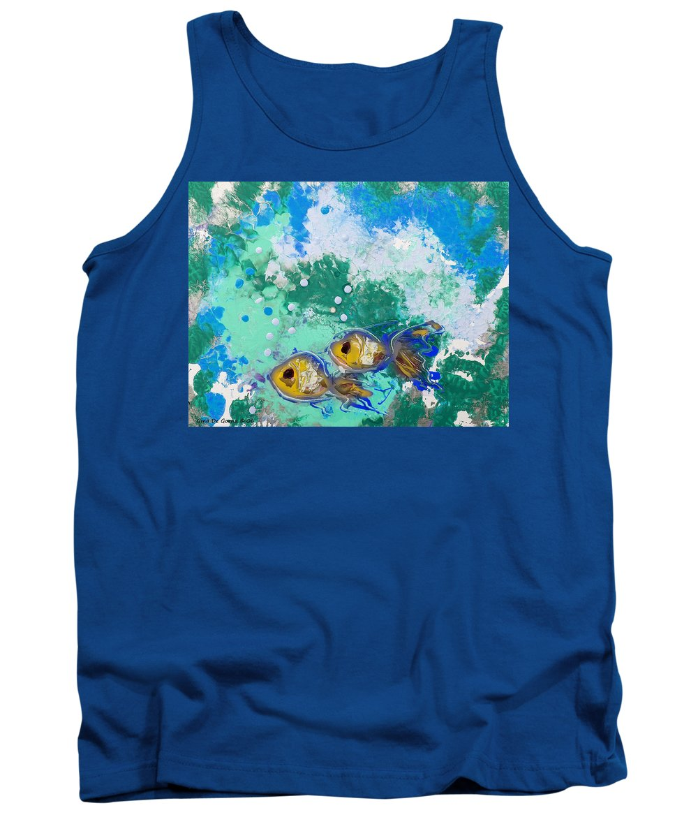 Fish Tank Top featuring the painting 2 Fish by Gina De Gorna