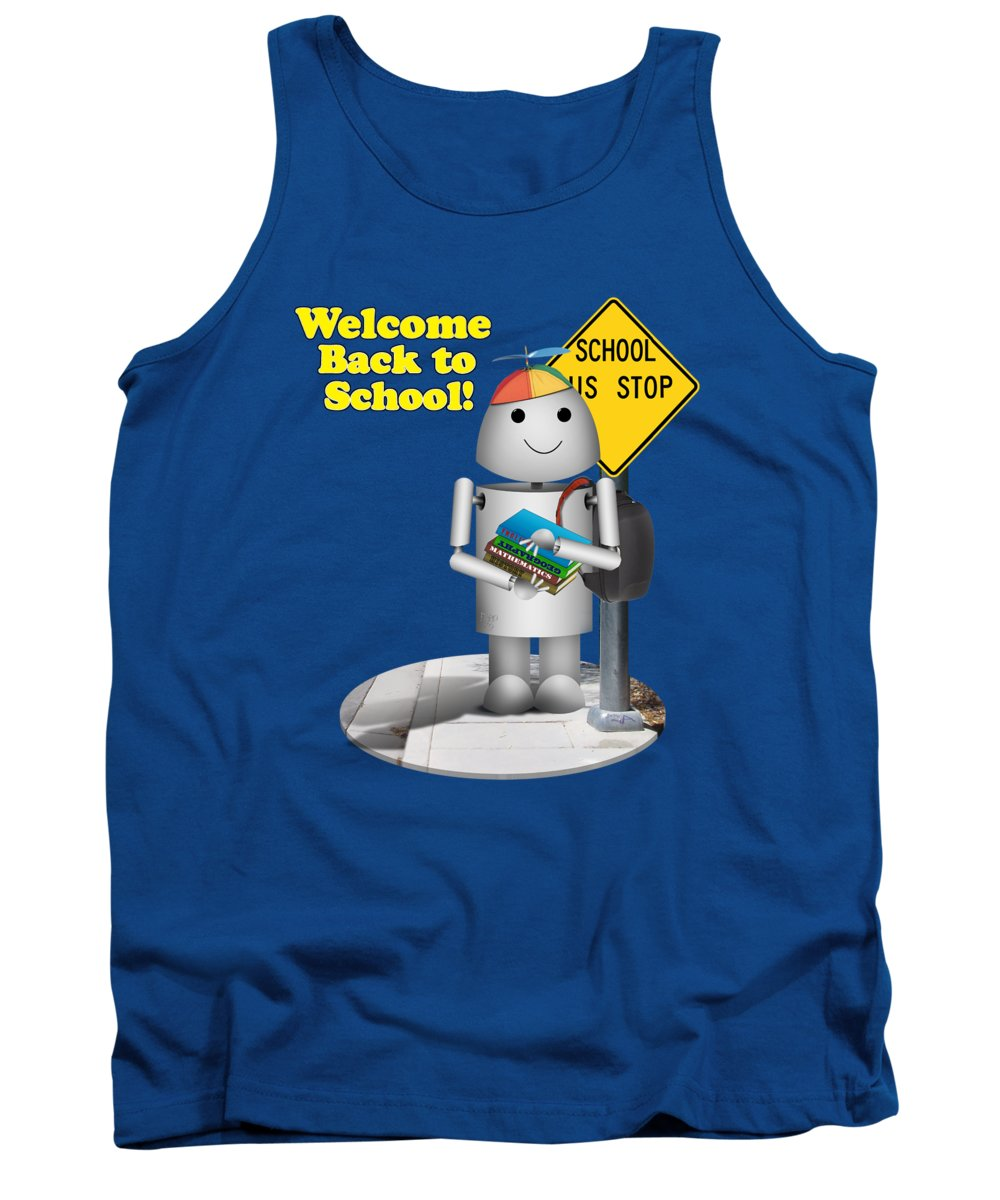 Back To School Tank Top featuring the digital art Back To School Little Robox9 by Gravityx9 Designs