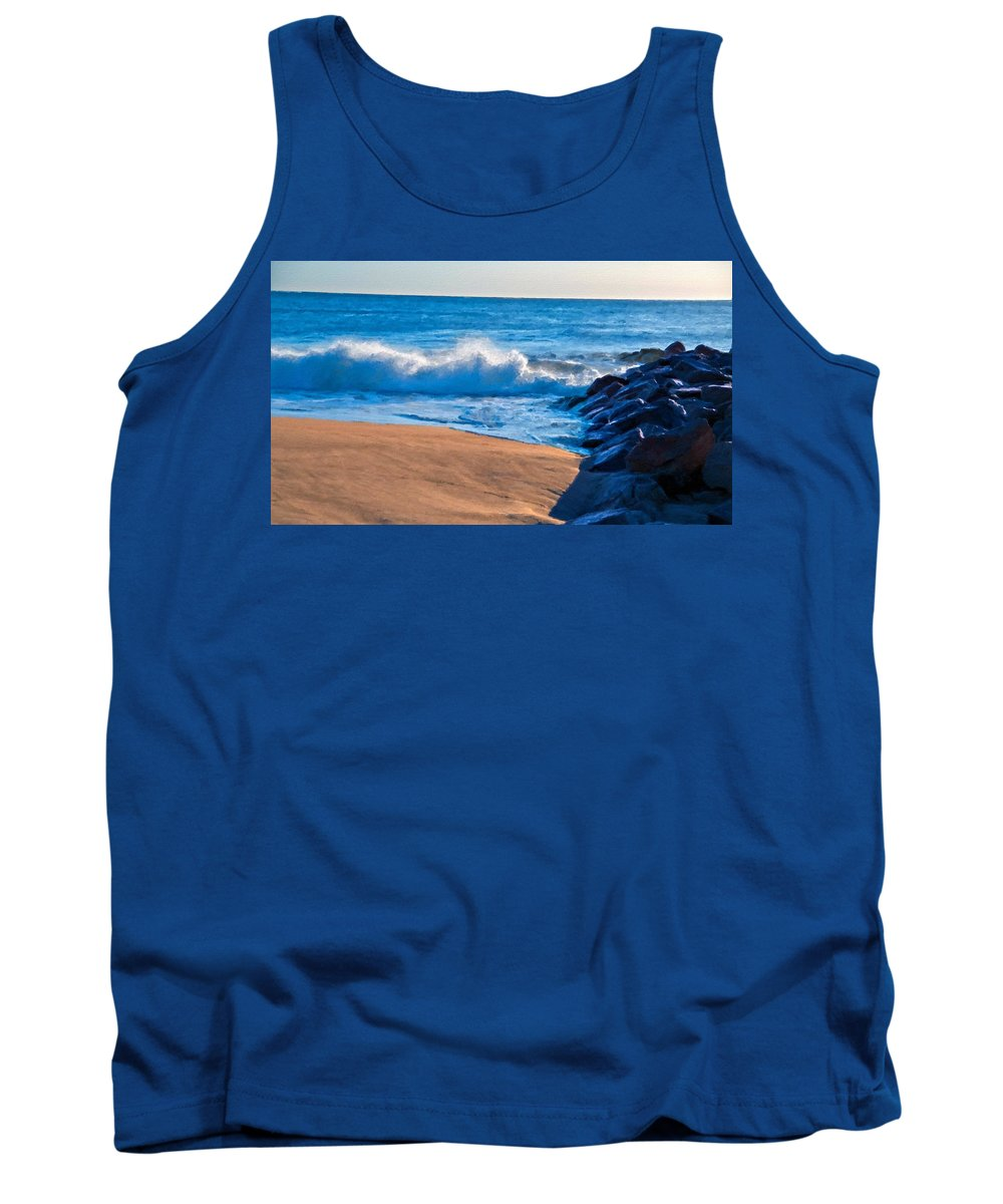 V Tank Top featuring the digital art Landscape Oil Painting by Usa Map