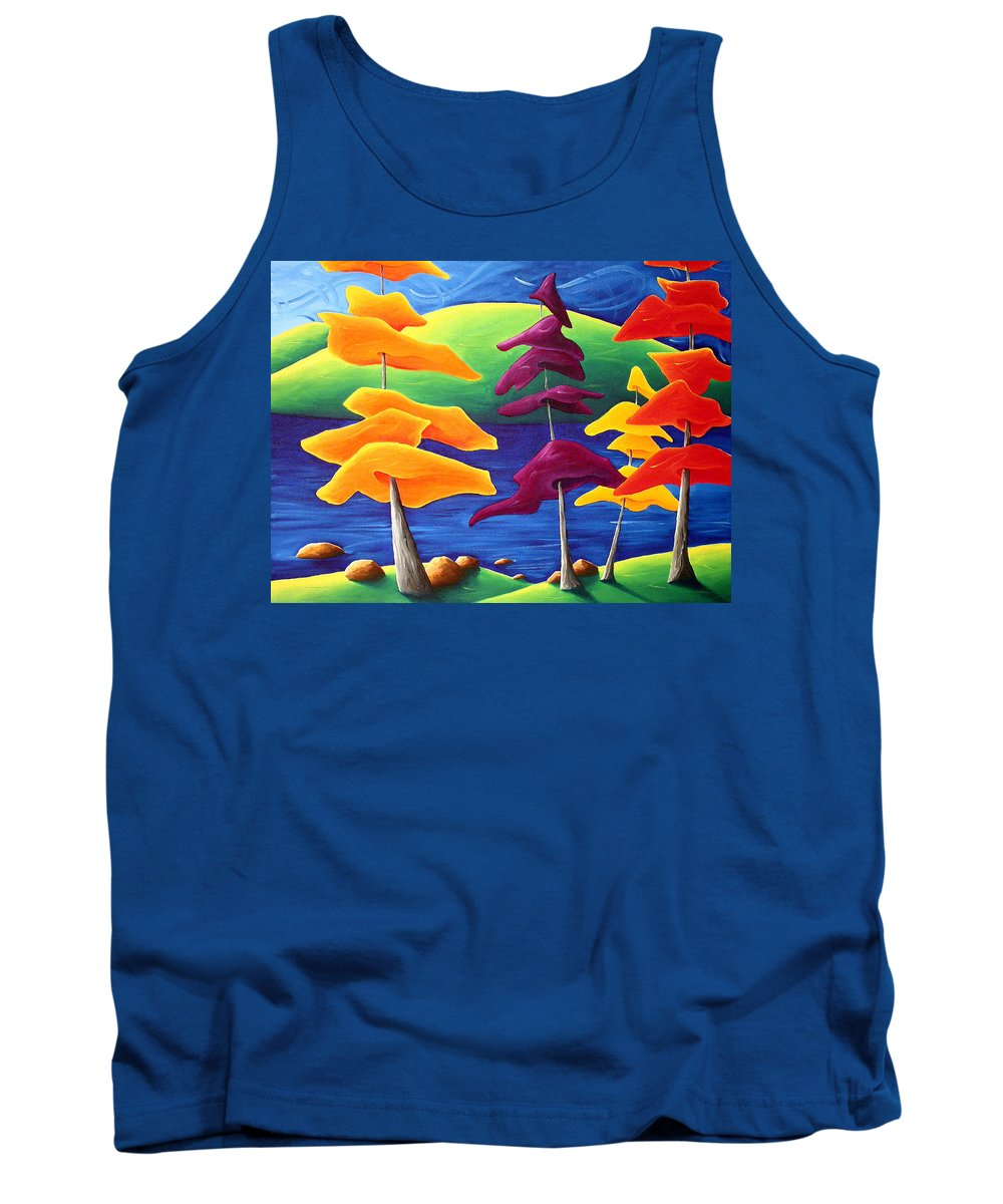 Landscape Tank Top featuring the painting A Crowd Gathers by Richard Hoedl