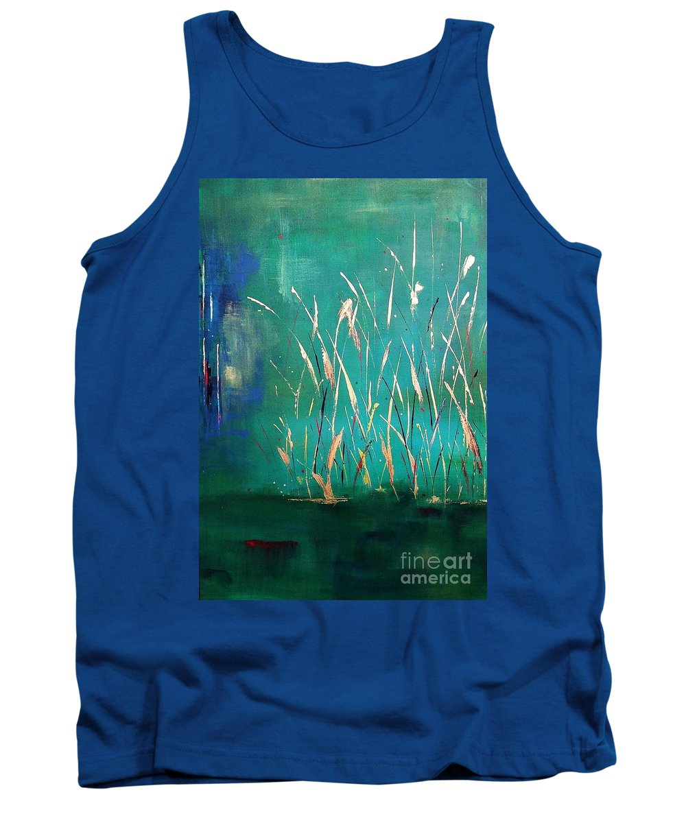 Abstract Landscape Tank Top featuring the painting A Touch Of Teal by Frances Marino