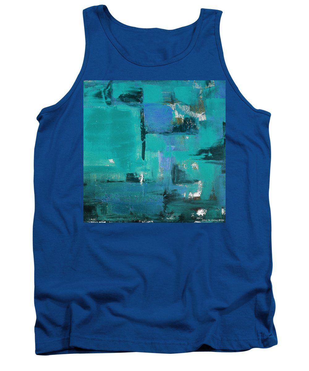 Abstract Tank Top featuring the painting Abstract In Blue by Gina De Gorna