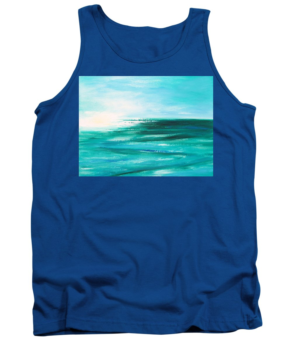 Abstracts Tank Top featuring the painting Abstract Sunset in Blue and Green 2 by Gina De Gorna