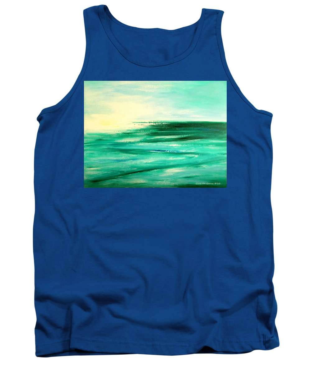 Sunsets Tank Top featuring the painting Abstract Sunset In Blue And Green by Gina De Gorna