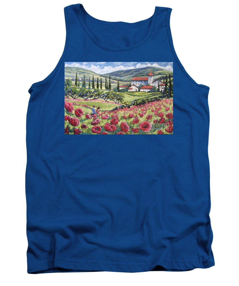 Tuscan Tank Top featuring the painting Afternoon Stroll by Richard T Pranke