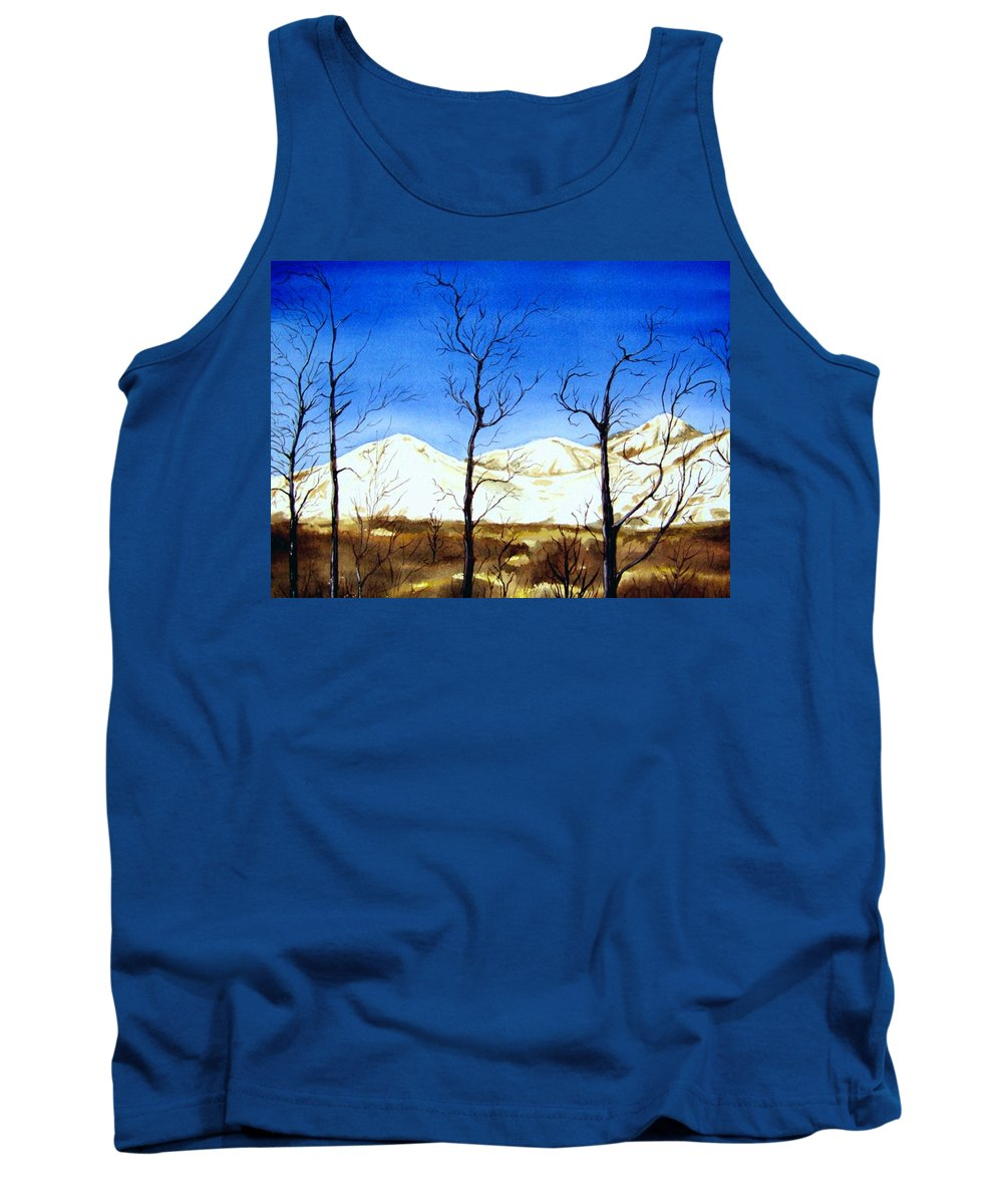 Landscape Tank Top featuring the painting Alaska Blue Sky Day by Brenda Owen