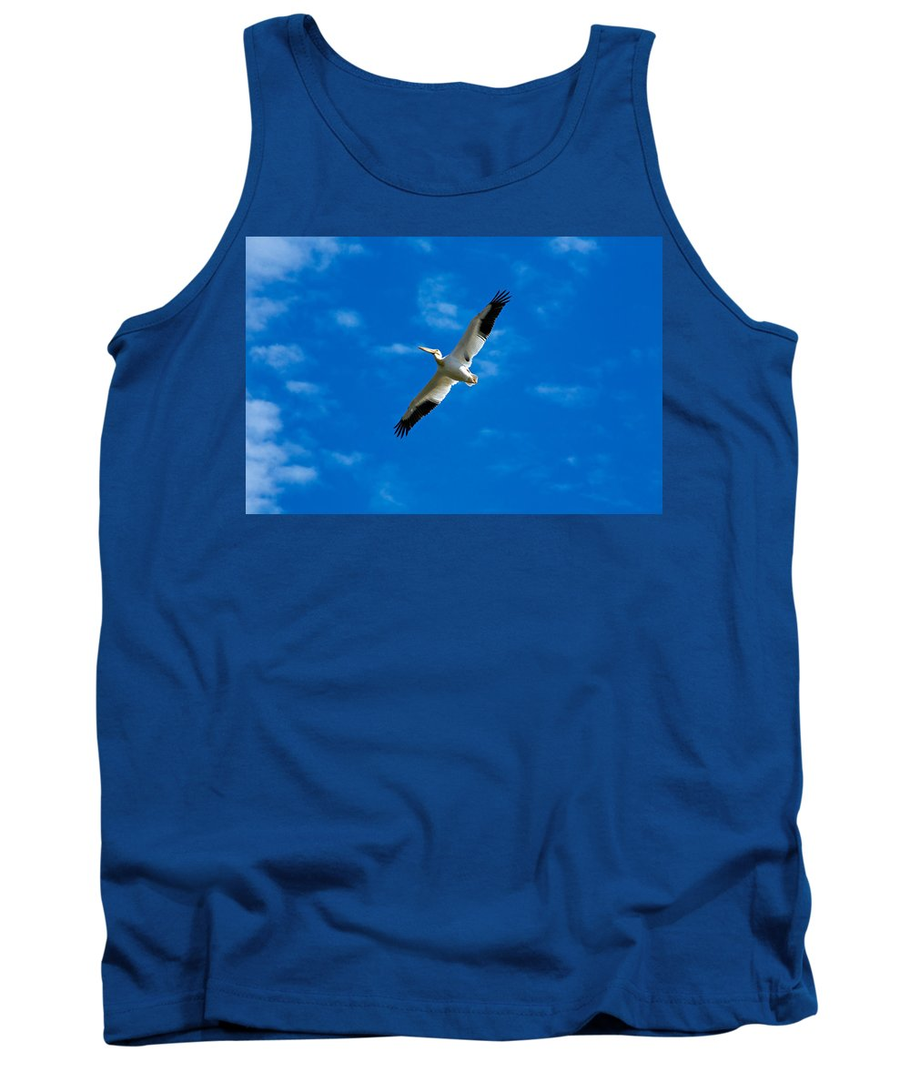 American Tank Top featuring the photograph American White Pelican by Marilyn Hunt