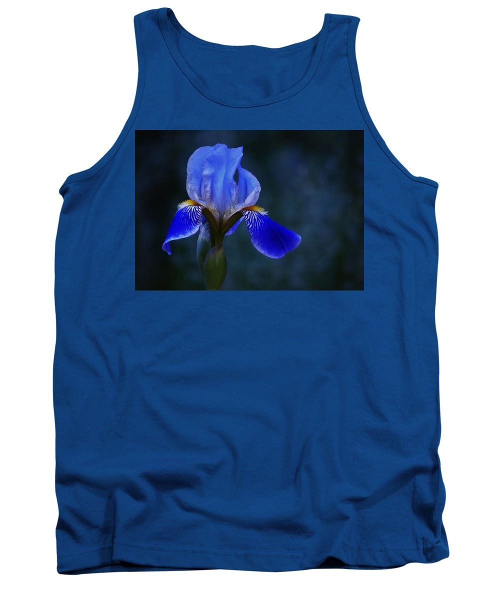 Flower Tank Top featuring the photograph Antiqued Blue Iris by Barbara St Jean