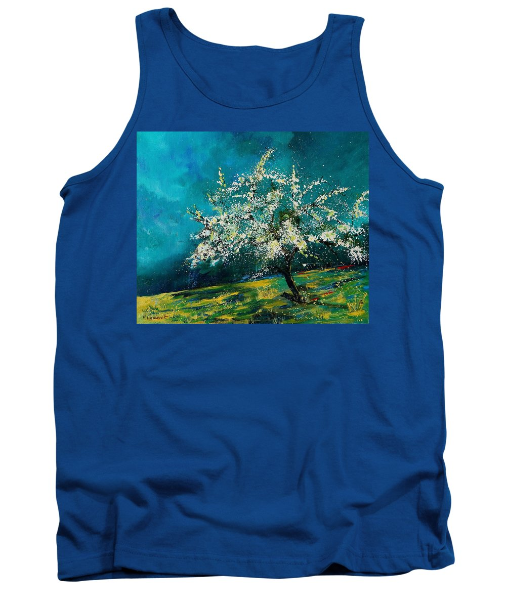 Spring Tank Top featuring the painting Appletree In Spring by Pol Ledent