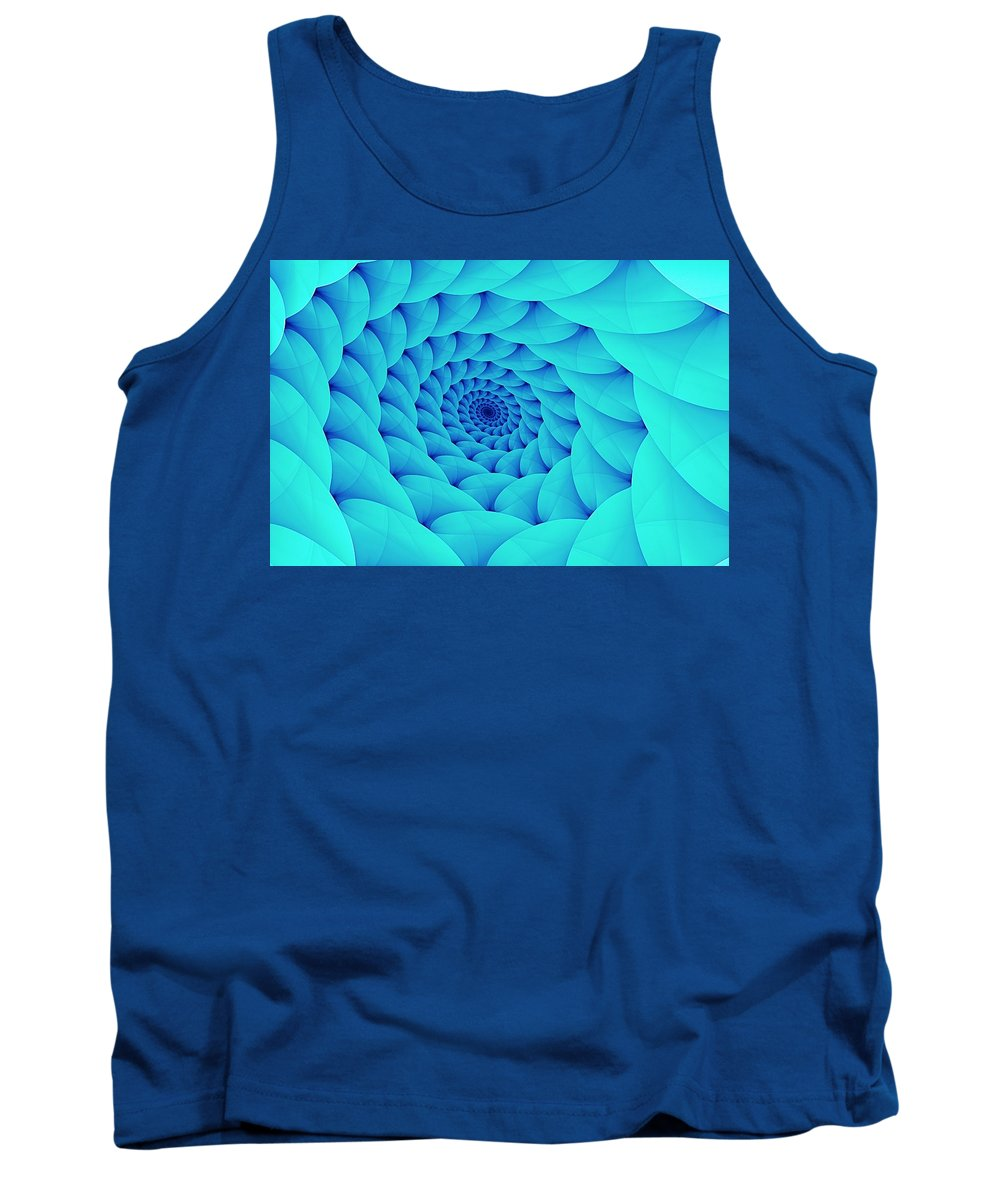 Spiral Tank Top featuring the digital art Aqua Pillow Vortex by Doug Morgan