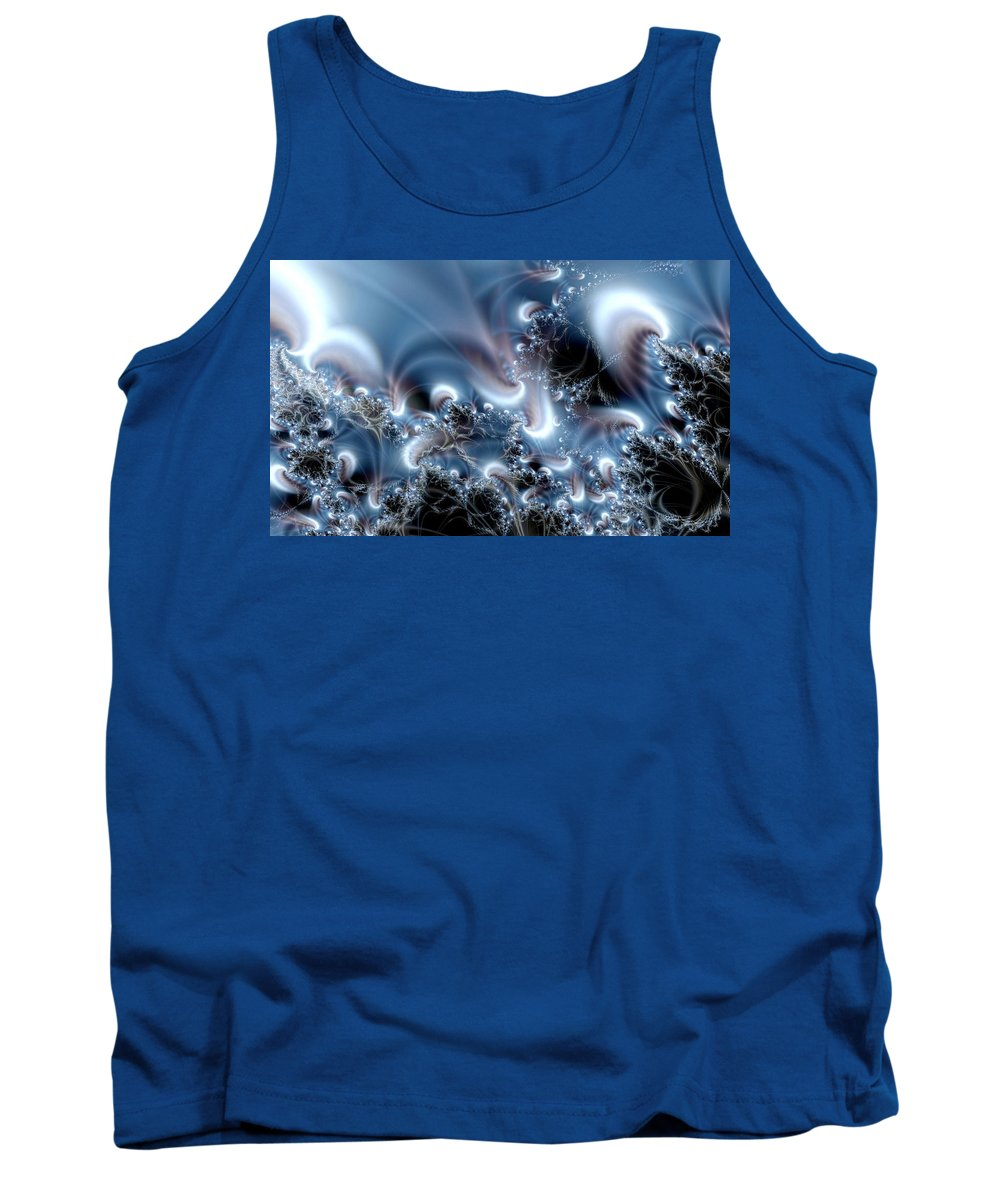 Water Bubbles Blue Nature Flow Tank Top featuring the digital art Aquafractal by Veronica Jackson
