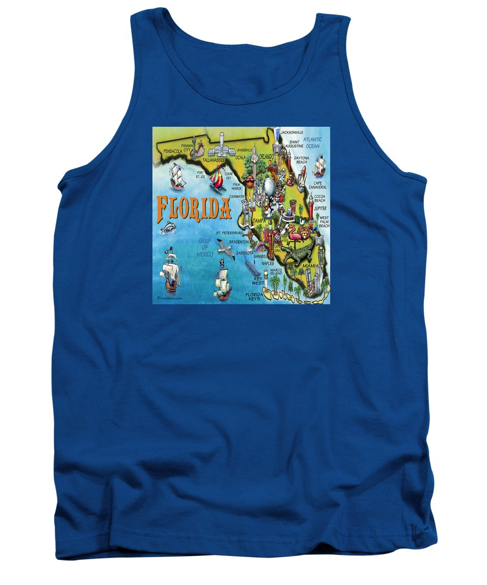 Florida Tank Top featuring the digital art Florida Cartoon Map by Kevin Middleton