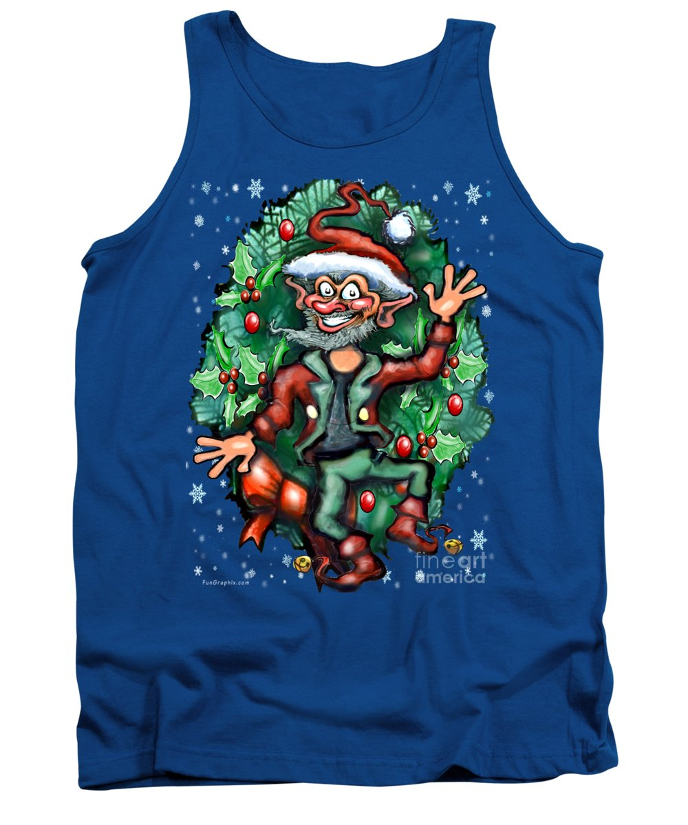 Christmas Tank Top featuring the digital art Christmas Elf by Kevin Middleton
