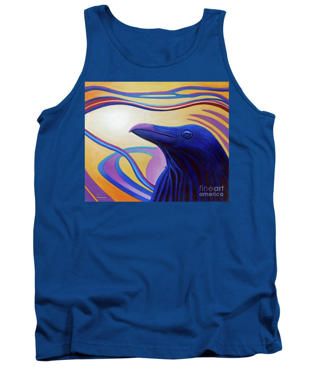 Raven Tank Top featuring the painting Astral Raven by Brian Commerford