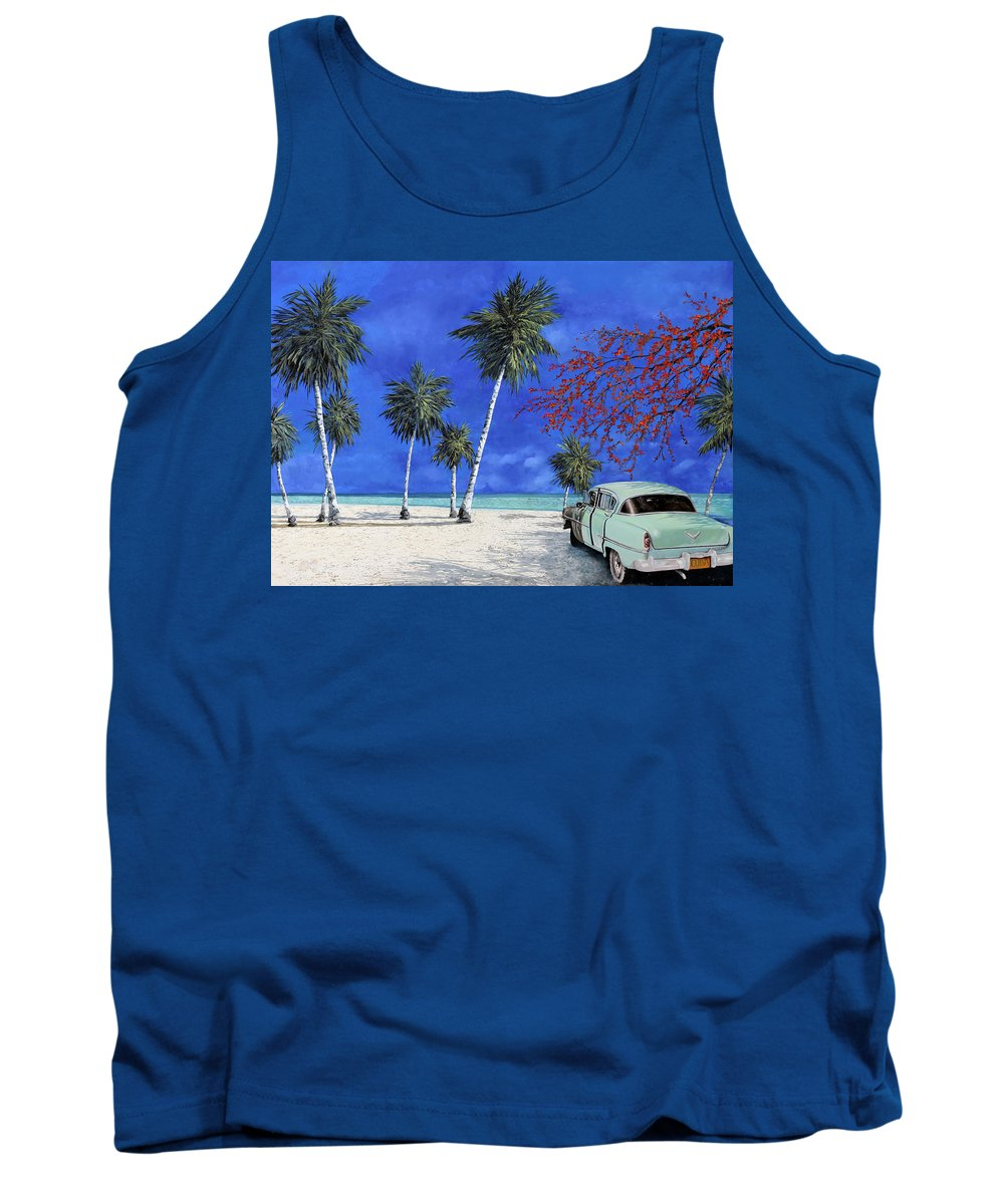 Seacsape Tank Top featuring the painting Auto Sulla Spiaggia by Guido Borelli