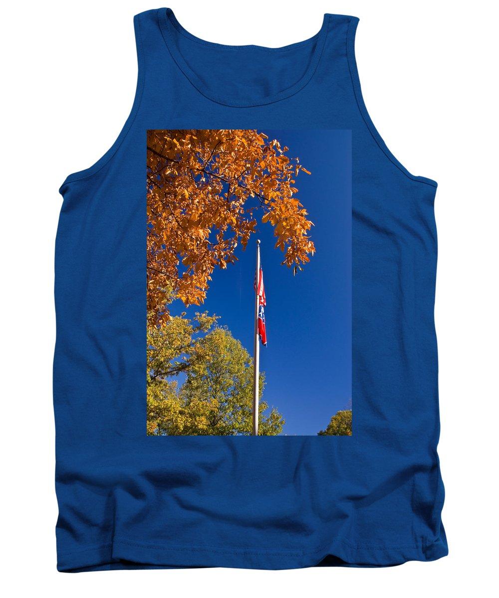Flag Tank Top featuring the photograph Autumn Flag by Douglas Barnett