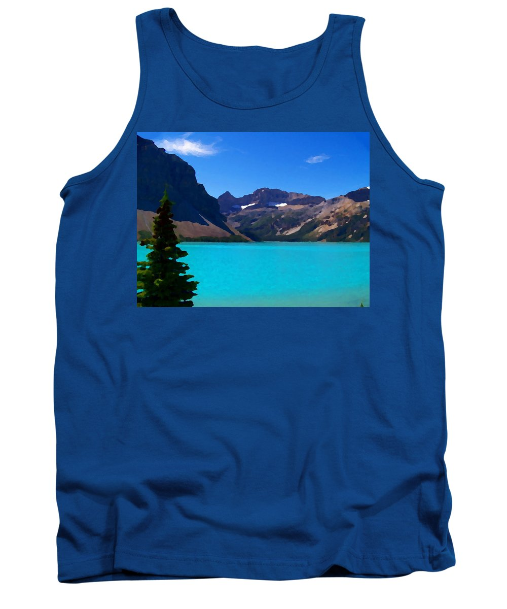 Scenic Tank Top featuring the photograph Azure Blue Mountain Lake by Greg Hammond