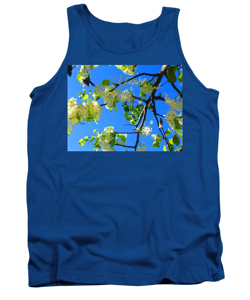 Tree Blossoms Tank Top featuring the painting Backlit White Tree Blossoms by Amy Vangsgard