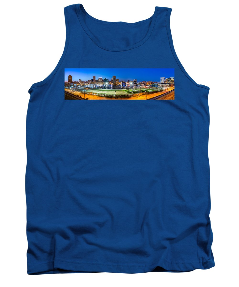 Baltimore Tank Top featuring the photograph Baltimore Skyline Panorama At Dusk by Mihai Andritoiu