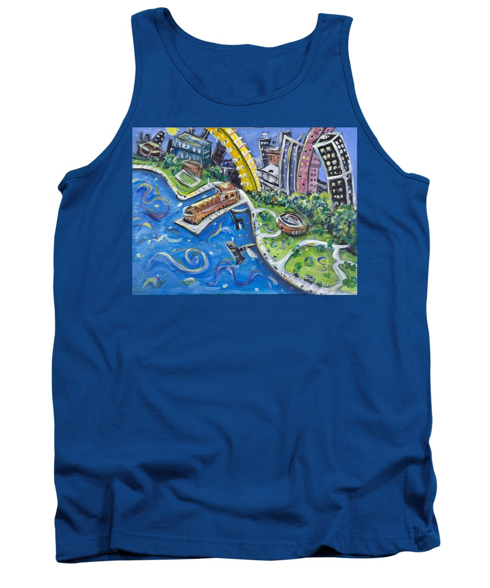 Battery Park New York City Manhattan Wall Street Hudson River Buildings Water Boat South Tank Top featuring the painting Battery Park by Jason Gluskin