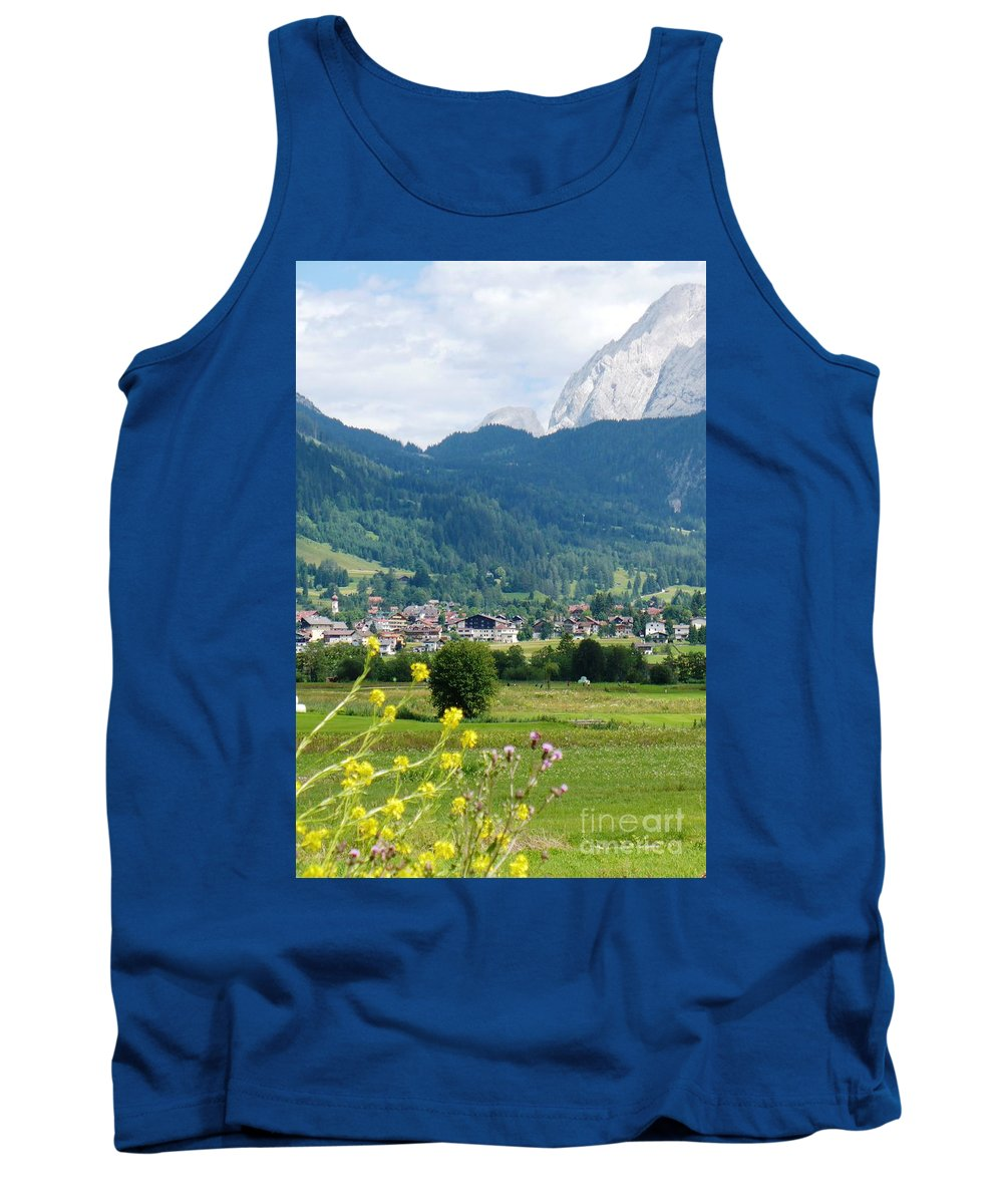 Bavaria Tank Top featuring the photograph Bavarian Alps With Village And Flowers by Carol Groenen