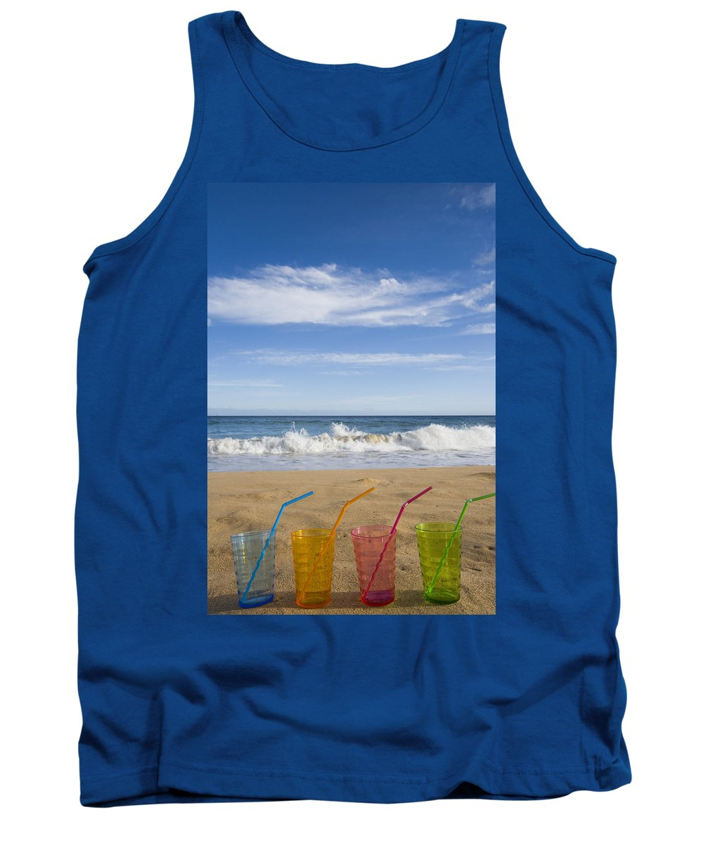 Color Tank Top featuring the photograph Beach Party by Karen Ulvestad