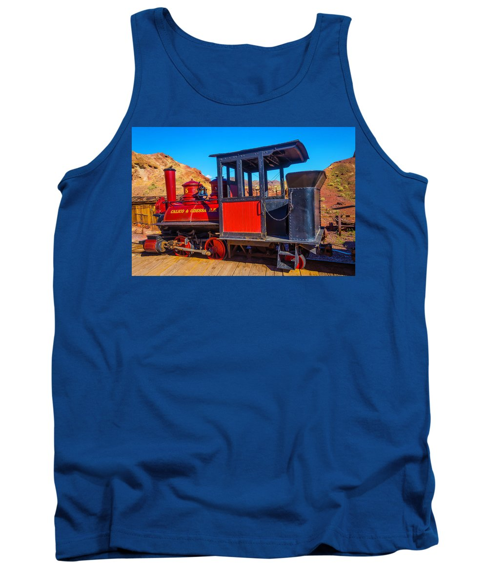 Calico Tank Top featuring the photograph Beautiful Red Calico Train by Garry Gay