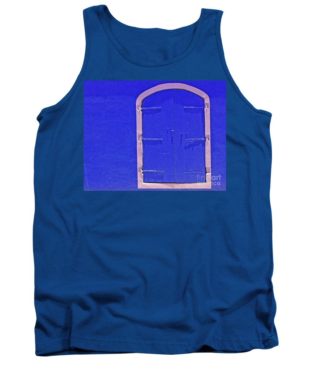 Door Tank Top featuring the photograph Behind The Blue Door by Debbi Granruth