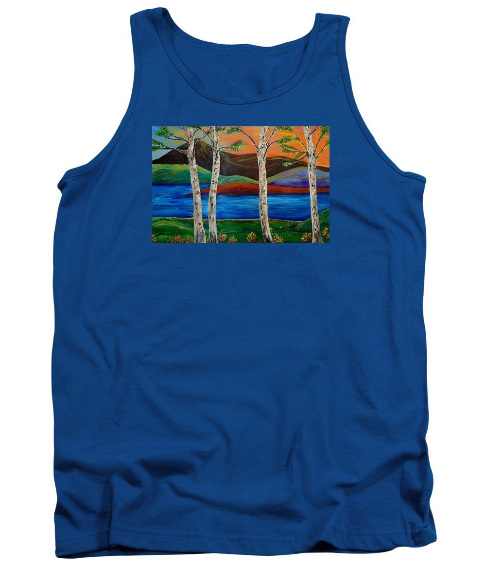 Landscape Tank Top featuring the painting Birch By The Lake by Lynda Luburic